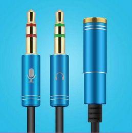 Kopfhöreradapter online-Neue Combo 3.5mm Audio Converter Stecker Mic Y Line Splitter Verlängerungskabel Kopfhörer + Mic Adapter Spot