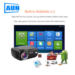 Wholesale Proyector Tv - Wholesale- 2017 AirPlay 2.4G Android 4.4 HD LED Wifi Smart Projector 70W 3D home theater LCD Video Proyector TV Beamer with Bluetooth 4.0