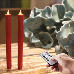 Wholesale Led Christmas Candle Sticks - Christmas Red Moving Wick Flame LED Taper Candle Flameless with Remote, Timer Function - 9.6 Inches Height