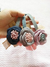 Wholesale Satin Flowers For Hair Bands - Lace Flowers hair sticks for kids Contrast color Satin flower Crumple bow hair hoop hair band three colors