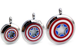Wholesale Free Gift Logo - Chains As Gift Round Silver Captain America Logo (30mm) Stainless Steel Essential Oils Diffuser Aromatherapy Lockets with Free Pads