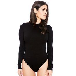 Wholesale Long Sexy Bodysuits - 5pcs Fashion Women Sexy One Piece Swimwear Long Sleeve Bodysuits Jumpsuits&Rompers S M L XL LN1230