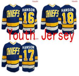 Wholesale Kids Boy Jacked - 2017 Mix Order 17 Steve HANSON Youth Charlestown CHIEFS Jerseys,16 Jack HANSON ICE Hockey Jersey,Kid boy 18 Jeff HANSON Jersey Free Shipping