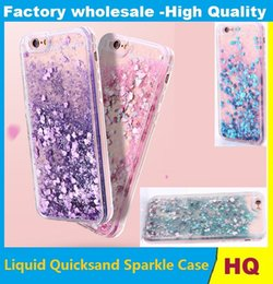 Wholesale I5 Skin - 30pcs Liquid Quicksand Sparkle Case For iPhone6S 6SPlus 7 7Plus i5 Silicone Stars Heart Love Cover Powder Floating Glitter Bling Gel Skin