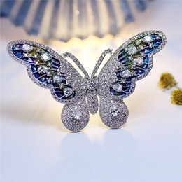 Wholesale Butterfly Wing Pin - Vintage Silver Tone Multi Colored Butterfly Brooch White Clear Round Stone Prong Set Iridescent Enamel Wing Jewelry CZ Pin
