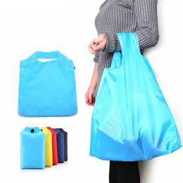 Wholesale Wholesale Ripstop Nylon - Portable Folding Shopping Bag Large Ripstop Nylon Reusable Reinforced Handle Bags Waterproof Travel Bag free shipping