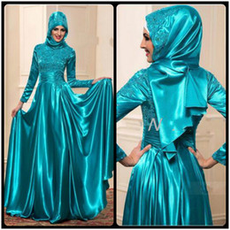 Wholesale Evening Long Dinner Dresses - Muslim Evening Dresses with Long Sleeves A Line High Neck Vestido De Festa Lace Evening Formal Wear Emerald Dinner Party Gowns
