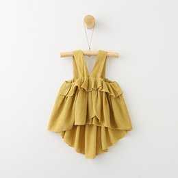 Wholesale Girls Suspenders Shorts - Everweekend Girls Ruffles Summer Halter Tops Yellow and White Color Suspender Tees