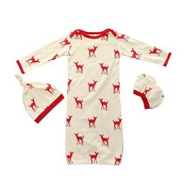 Wholesale Cute Baby Boy Pajamas - Baby Clothing Baby Romper 3PCS Sets Cute Deer Cotton Boys Girls Infant Pajamas Sleepwear Sleepsuit Jumpsuit Baby Sleeping Bag