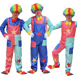 Wholesale Clown Dance Costumes - Colorful Circus Clown Costumes Funny Magician Costume Adult Cosplay Props Stage Performance Halloween Dance Party Supplies