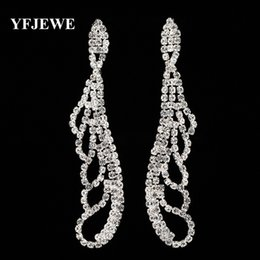 Wholesale Large Crystal Drop Earrings - YFJEWE Fashion Wedding party Gift Accessories Jewelry Female Crystal Long Earrings Bridal Large Drop Earrings for Women E399