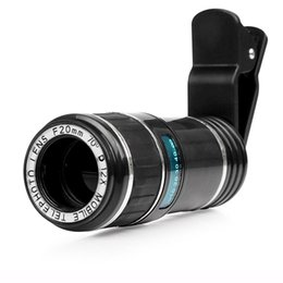 Wholesale Detachable Phone Lens - Detachable Universal Clip 70 Degree 20mm Super 12X Telephoto Lens Portable Phone Camera Kit for iPhone Samsung all Smartphone