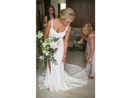 Vestido De Casamento De praia Sexy Slit Bainha de Luxo Lace Scoop Spaghetti Cintas Império Cintura V Vestido De Noiva de Volta COR-696 Casamento de