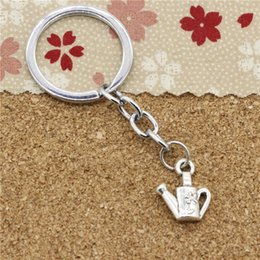 Wholesale Antique Water Can - 15pcs Fashion Diameter 30mm Metal Key Ring Key Chain Jewelry Antique Silver Plated watering can gardening 18*15mm Pendant