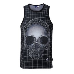 Wholesale Dog Tank Tops - Wholesale- Summer Tank Tops 3D Print Skull Dog Gun Designer Vest Mesh Breathable Basic Shirt Bodybuilding Fitness Men Women Undershirt