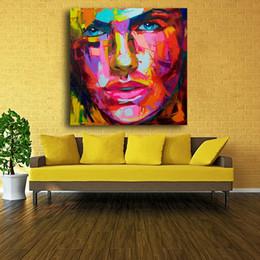 paleta de paleta figuras de pintura abstrata Desconto Paleta de pintura da faca Retrato Abstrato Rosto pintura a óleo Impasto figura da lona pintada Françoise Nielly Wall Art Pictures