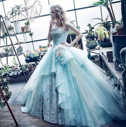 Wholesale Strapless Organza Yellow Ball Gown - 2017 Ocean Blue Strapless Ball Gown Quinceanera Dresses Embroidery Tulle Floor-length Sweet 16 Dresses Vestidos De Quinceanera