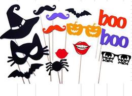 2019 engraçados do dia das bruxas 14 Pcs Definir Casamento engraçado máscara de Papel Foto Cabine Adereços Partido Halloween Abóbora Presentes Decorações Bigode Chapéu Lábios Animais DIY desconto engraçados do dia das bruxas