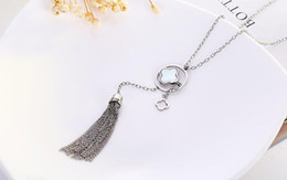 Wholesale Clover Design Necklaces - latest design saudi gold jewelry necklace 2017 women popular shell clover necklace with tassel girls lucky jewelry necklace gift wholesale