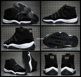 Wholesale Velvet Sneakers - 2017 Air Retro 11 XI Black Gold Velvet Heiress Mens Women Basketball Shoes Wool Sneakers Retros 11s Trainers Athletics Man Sports Shoe 36-47