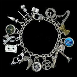 Wholesale Dr Charms - 6pcs Superwholock Themed Charm Bracelet, Supernatural, Dr Who, Sherlock, Doctor Who