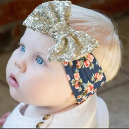 Wholesale Big Bow Head Band - Baby Girls Headbands with Big Paillette Bow New Kids Christmas Floral Head bands Sequins Bowknot Children Bowknot Hair Accessories KHA107