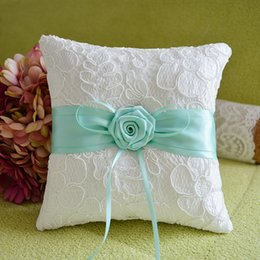 Wholesale Lace Ribbon Ring Pillow - High quality new arrival elegant embroidery lace with  rose bridal ring pillow for wedding