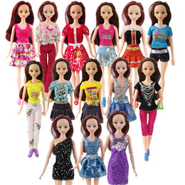 Wholesale Dress Pairs Doll Shoes - Random 10 Pcs Mix Barbie Doll Dress + 10 Pair Shoes Beautiful Fashion Party Outfit Clothes For Barbie Dolls Girl's Gift Toys