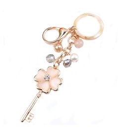 Wholesale Metal Shaped Keychain - 2018 trendy Love heart opal stone key rings rose gold plated key shaped pendant keychain with velvet bag package