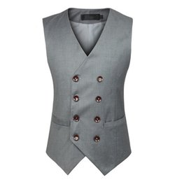 Wholesale Wholesale Men Vests - Wholesale- 2017 New Fashion Double Breasted Slim Chaleco Sleeveless Cotton Waistcoat Suit Vest Male Dress Vest mens suits vest