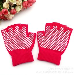 Wholesale Wholesale Fingerless Gloves Cotton - Glove Autumn And Winter Professional Sports Gloves Half Finger Five Toe Cotton Slip Free Yoga Mittens For Women New Arrival 3 5ed F