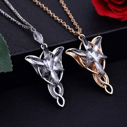Wholesale Rings Elves - Hot sales Lotr Lord Of The Rings Elf Princess Arwen Evenstar Pendants Twilight Elves Princess Silver Plated Pendant Neck Cosplay jewelry