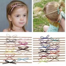 Wholesale Girls Hair Simple Headbands - Fashion Baby Nylon Elastic Headbands Bow Kids Girls DIY Bowknot Hairbands Children Hair Accessories Simple cute headwear 22 Color