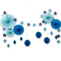 Wholesale Tissue Paper Garland Wholesale - Set Of 15Blue Star Paper Garland Honeycomb Balls Tissue Paper Fans For Birthday Baby Shower Bridal Shower Space Decor