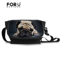 Wholesale Vintage Pug - Wholesale- FORUDESIGNS Animal Pug Dog Messenger Bag Cross body Bag for Women Vintage Teenager Girls Travel Messenger-bag Over Shoulder