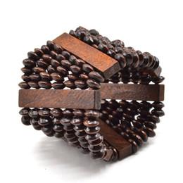 Wholesale Multi Color Beaded Bracelets - Wholesale-1 piece Multi Color Handmade Multilayered Wooded Beaded Elastic Bracelet Men Women Trapezoid Stretch Wristband