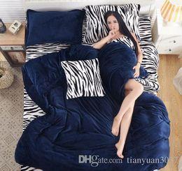 Wholesale Leopard Comforter Full - Fashion leopard zebra pure cashmere. Four piece, thick flannel bedding Suite Home Textile TY2075