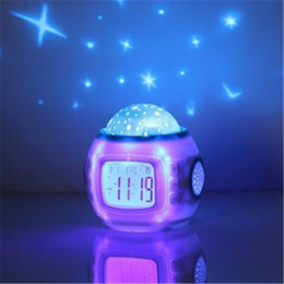 Wholesale Projector Light Clock - Wholesale- YZF Star Night Light Indoor Lighting Atmosphere Amazing Flashing Colorful family PATY Bedroom Alarm Clock Star Projector Lamp