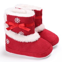Wholesale Princess Kids Bedding - Christmas boots red girls BOWS fleece non-slip toddler boots kids snow printed winter warm princess boots baby indoor bed frist shoes T0576