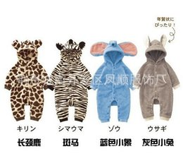 Wholesale Warm Infant One Piece Clothing - Animal Cartoon Baby Boy Girl One Piece Rompers Full Sleeves Hooded Clothes Thicker Warmer Winter Rompers For Infant Boys Girls