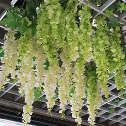 Wholesale Artificial Flower Strings - Free Shipping Artificial Silk Hydrangea Wisteria Flower String Home Garden Hanging Flowers Vine DIY Wedding Decor Supplies