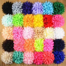 Wholesale Ornaments For Hair - free shipping 30pcs lot 30colors chiffon fabric flowers for baby girl floral headbands hairband hair ornaments DIY hair accessories H0129