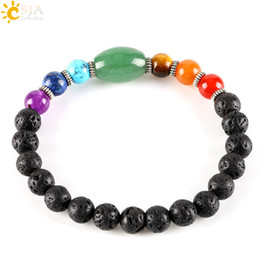 Wholesale East Indian Jewellery - CSJA Big Size Green Aventurine Created Healing 7 Chakra Gemstone Black Lava Strand Bracelet for Male Female Gift Jewellery E279