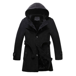 Wholesale Single Button Pea Coat - Wholesale- M-6XL new autumn and winter men's thicken warm fleece lined wool blends pea coat hoodie button single breasted overcoat