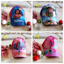 Wholesale Kids Hat Caps - Kids Trolls Moana Hat Cap 4 color NEW children Ball caps Boys girls Cartoon Mesh baseball hockey mesh Hat B001