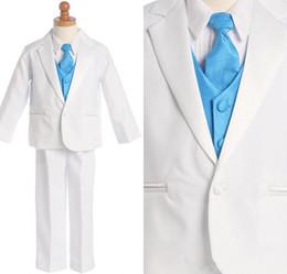 Wholesale Men Suit Color Chart - Custom Made Little Men White One Buttons Suits Notch Lapel Boy's Kids Formal Occasion 2015New Design Wedding Party Tu(Jacket+Pants+Vest)
