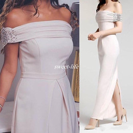 Wholesale Evening Straight Gown - 2017 Elegant Ivory Evening Dresses Off the Shoulder Arabic Abiye Straight Crystal Beaded Back Slit Evening Gowns Women Party Cocktail Dress