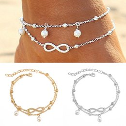Wholesale Gold Beads For Bracelets - 2Pcs Barefoot Sandals Beads Boho Unlimited Eight Foot Jewelry Beach Anklet Ankle Bracelet Anklets For Women Gold Silver