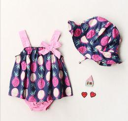 Wholesale Wholesale Childrens Caps - Childrens Floral Sets Infant Baby Girls Floral Bow T-shirts with Cotton Short pants 2017 Babies Summer Fashion Outfits no cap