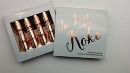 Wholesale Lipstick Making Set - kylie holiday make up Jenner lip gloss sets Kit KOKO Kollection In love with the koko kmatte lipgloss Cosmetics lipstick 4Pcs Set